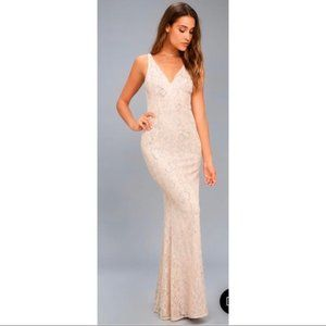 Lulu's Foiled Blush Lace Mermaid Gown